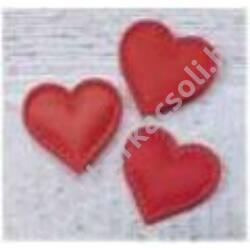 Textil szív - piros, 32 mm, 5db/csom.