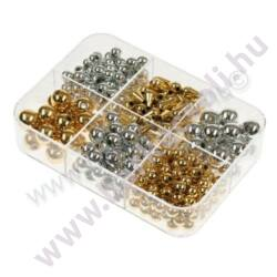 Fém gyöngykeverék - arany/ezüst
